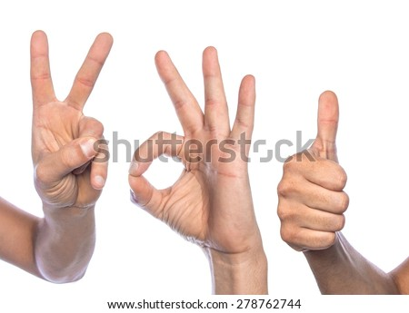 Diversity humans fingers signs isolated on white background. Gesturing, thumbs up - stock photo