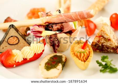 Diversity of delicious aperitif - stock photo