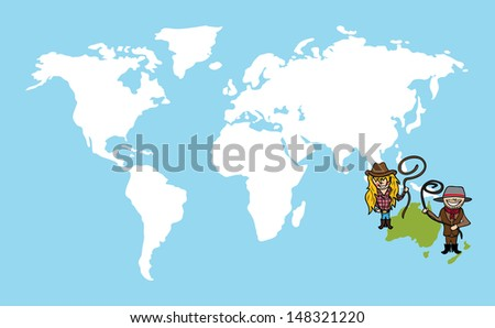 Diversity people concept world map, couple cartoon over Oceania continent.  - stock photo
