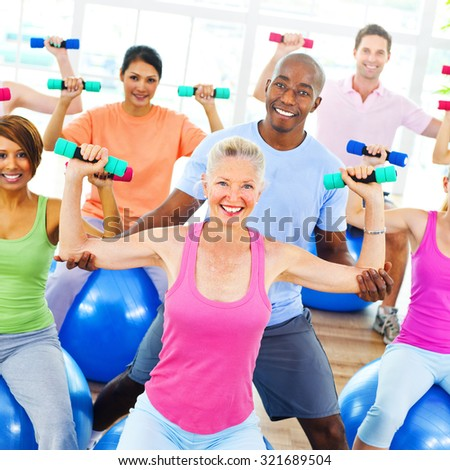 Diversity People Healthy Fitness Weights Training Concept