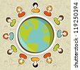Diversity people teamwork conneciton around the world over pattern background. - stock photo