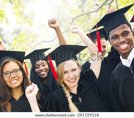 Diversity Students Graduation Success Celebration Concept - stock photo