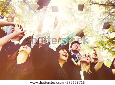 Diversity Students Graduation Success Celebration Concept - stock photo