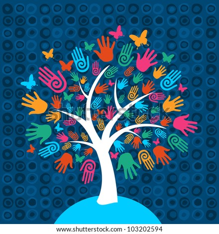 Diversity tree hands illustration background. - stock photo