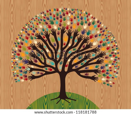 Diversity tree hands illustration for greeting card over wooden pattern. - stock photo