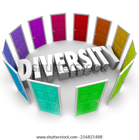 Diversity word in white 3d letters surrounded by color doors representing many ethnic, cultural or racial diverse backgrounds and opinions to share - stock photo