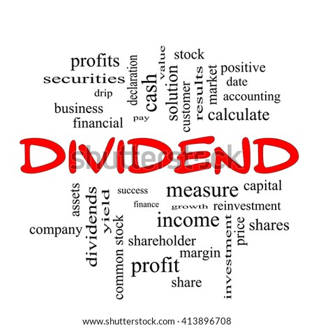 Dividend Word Cloud Concept in red caps with great terms such as pay, assets, yield and more.