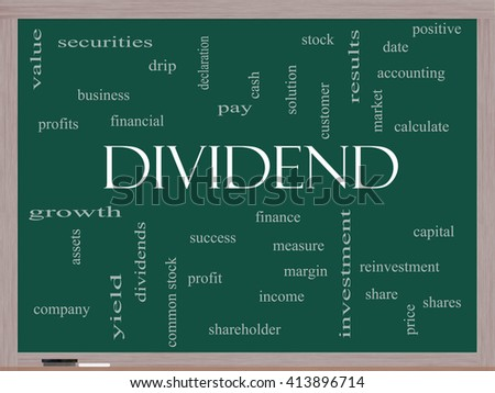 Dividend Word Cloud Concept on a Blackboard with great terms such as pay, assets, yield and more. - stock photo