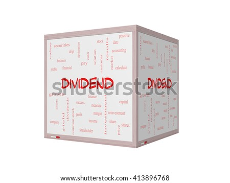 Dividend Word Cloud Concept on a 3D Whiteboard with great terms such as pay, assets, yield and more. - stock photo