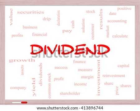 Dividend Word Cloud Concept on a Whiteboard with great terms such as pay, assets, yield and more. - stock photo