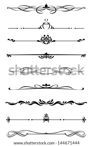 Dividers and borders set in medieval style. Vector version also available in gallery - stock photo