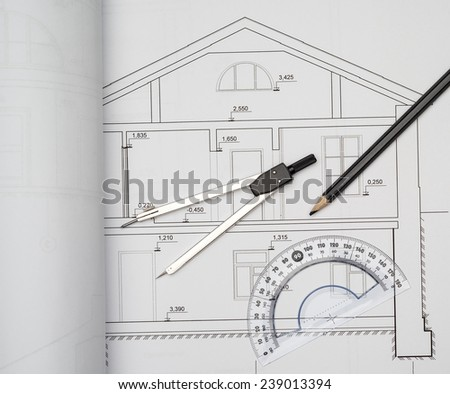 dividers on the architectural project house - stock photo