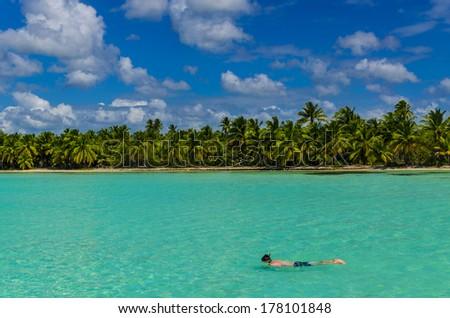 Diving, dive, coast of the Caribbean Islands, Saona, Dominican Republic - stock photo