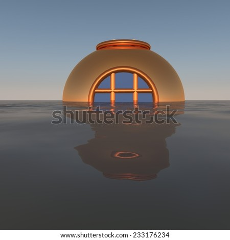 Diving helmet coming out of water, 3d render - stock photo