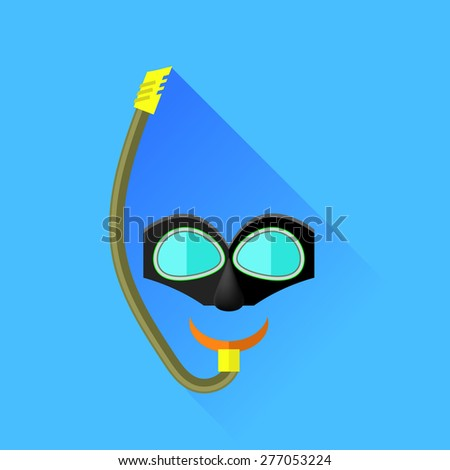 Diving Mask Isolated on Blue Background. Long Shadow. - stock photo