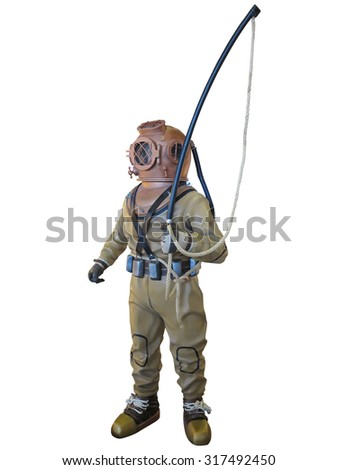 Diving suit equipment isolated over white background - stock photo