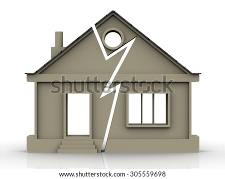 Division of Property. Symbolic house with a crack. The concept of the division of property - stock photo