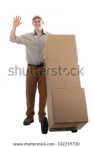 Divlery guy courier shipping containers - stock photo