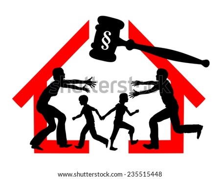 Divorce and Custody. Court dealing with division of property and custody rights of kid - stock photo
