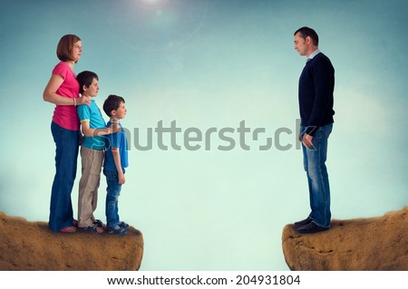 divorce concept family separation man woman and children separated by a chasm - stock photo