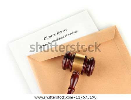 Divorce decree and envelope on white background - stock photo