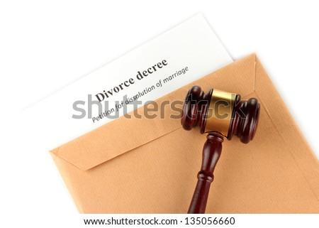 Divorce decree and envelope on white background - stock photo