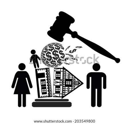 Divorce Decree. Court dealing with division of property and custody rights of kid - stock photo