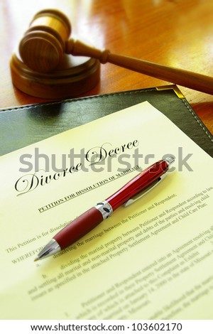 Divorce decree document and court gavel - stock photo