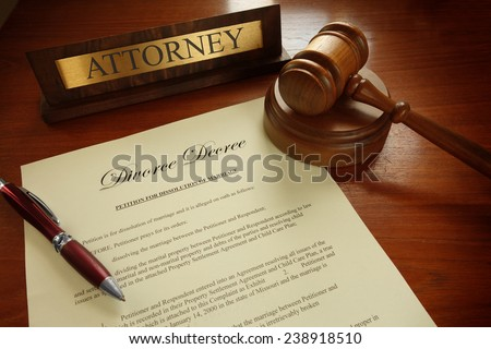 Divorce Decree with gavel and Attorney nameplate                                - stock photo