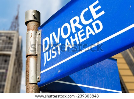 Divorce Just Ahead blue road sign - stock photo