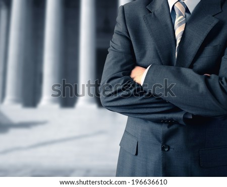 Divorce lawyer in front of the courthouse - stock photo