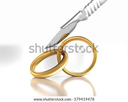Divorce or engagement breakup illustration.  - stock photo