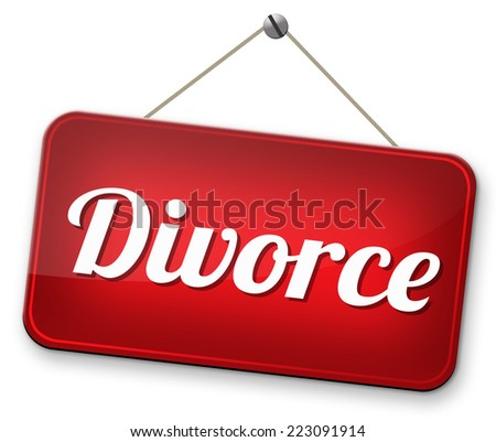 divorce papers or document by lawyer to end marriage dissolution often after domestic violence alimony   - stock photo