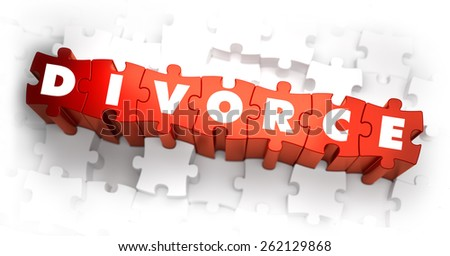 Divorce - White Word on Red Puzzles. 3D Render. - stock photo