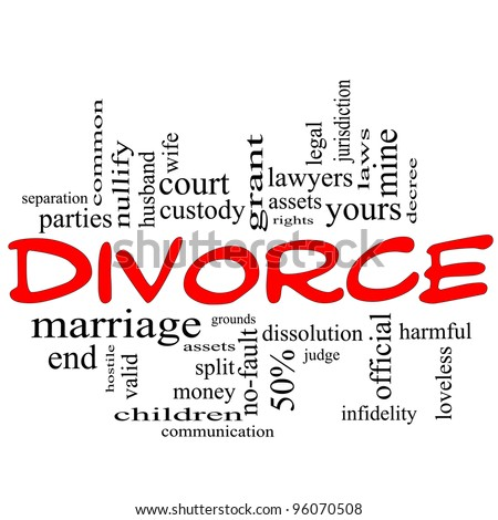 Divorce Word Cloud Concept scribbled in red with great terms such as end, marriage, end, laws, infidelity, split, children, and more. - stock photo