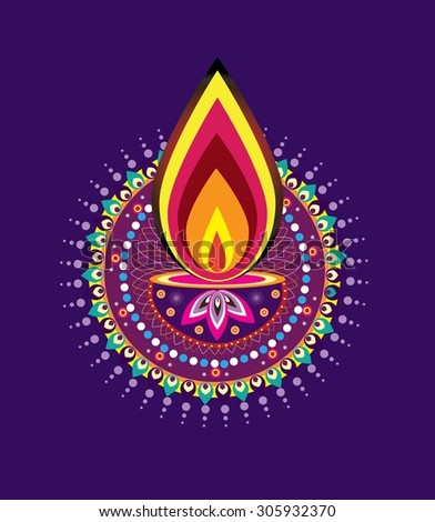 Diwali candle light - stock photo