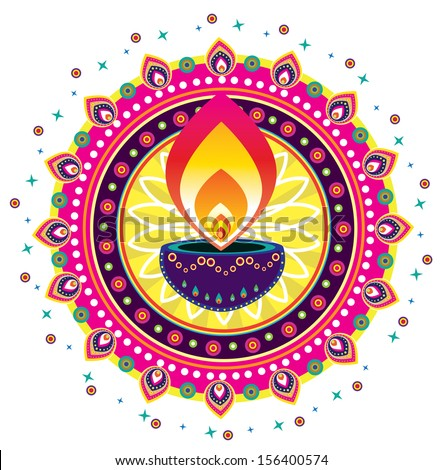 Diwali Candle Light-Indian new year celebrating oil lamp element - stock photo