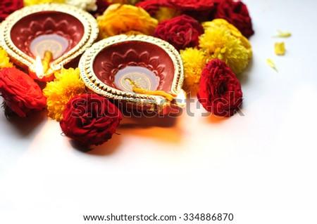 Diwali Diyas on a white background  - stock photo