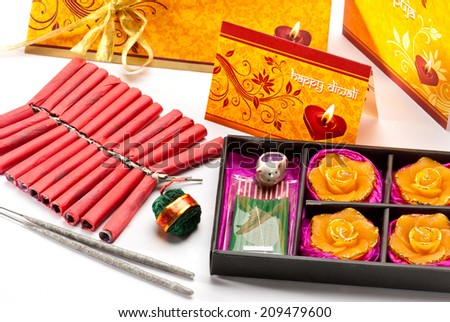 Diwali Greeting Card with firecrackers isolated on white background during Diwali festival India Asia South East Asia - stock photo