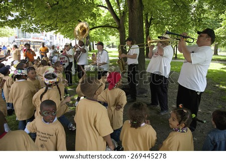 Dixieland band performs in Boston Common for inner-city Heads Start Childrens event, Boston, MA