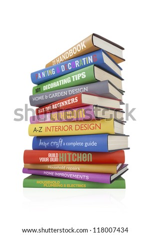 DIY and Home Improvement books isolated on white, with fictional titles. - stock photo