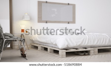 DIY bedroom, scandinavian white eco chic design, 3d illustration
