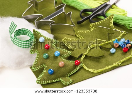DIY Christmas tree felt  decoration - stock photo