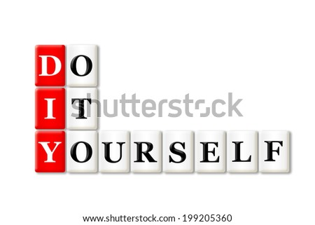 DIY - Do It Yourself acronym on white background  - stock photo