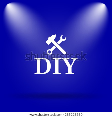 DIY icon. Flat icon on blue background.  - stock photo