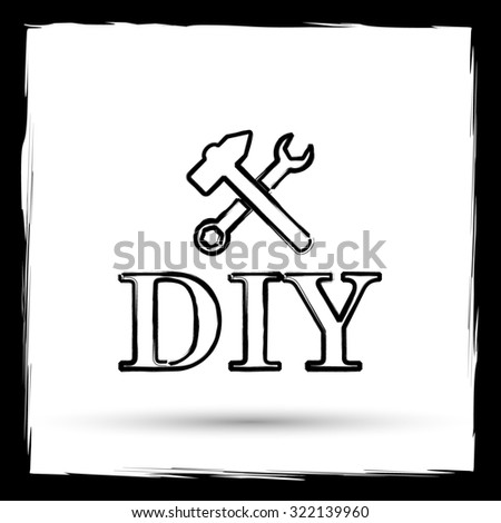 DIY icon. Internet button on white background. Outline design imitating paintbrush.