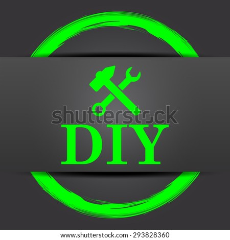 DIY icon. Internet button with green on grey background.  - stock photo