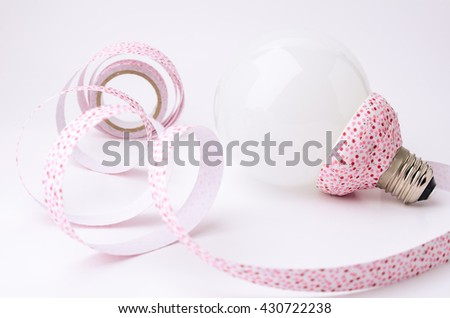 DIY Ribbon and Lamp for decorate in home. Eco concept. - stock photo