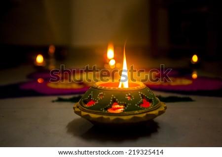 Diya at home during diwali - stock photo