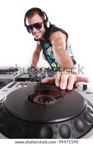DJ at play - stock photo
